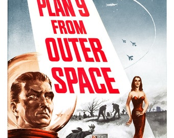 "Plan 9 From Outer Space - Sci Fi Movie Poster Print  13""x19"" - Vintage Movie Poster - 50s-60s kitsch - b movie"