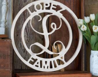 Wooden Vine Monogram Door Hanger - Initials Door Decor - Front Door Monogram - Home Decor -  Made in USA