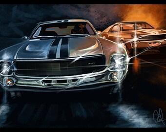 1968 AMC AMX Classic American  Muscle Car  8x12 Metallic Print