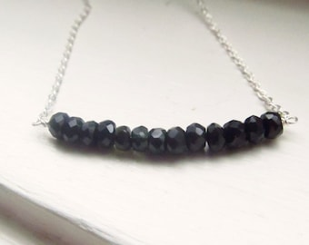 Black tourmaline necklace October birthstone bar silver gold