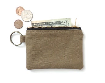 Canvas Keychain Coin Purse Slim Wallet Zipper Pouch Tan
