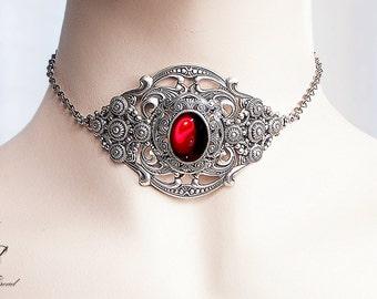 Ruby gem elegant gothic victorian silver choker