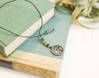Bookmark with beads and gear charm