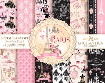 Paris Digital Papers, Digital Paper Paris, Paris Digital Background, Pink and Black Digital Paper, Paris Patterns, Scrapbook, Eiffel Tower