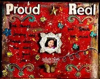 American Girl Real-Proud mixed media canvas