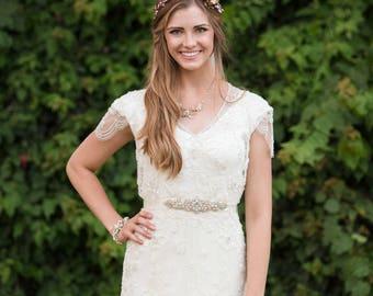 Bridal belt - wedding belt  - rhinestone belt - bridal sash - wedding sash - wedding dress belt - petite bridal sash - golden bridal sash