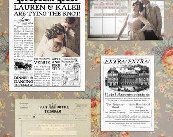newspaper wedding invitation template
