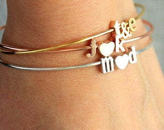 Initial Bracelet / Couples Bracelet / Lowercase Initial Charms / Letter Bangle / Bridesmaids Gift / Wedding Gift / Personalized Jewelry Gift