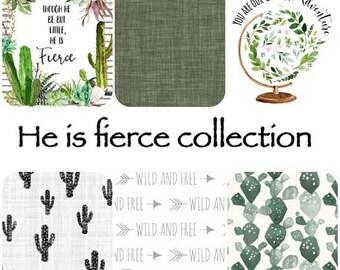 Boy Cactus Blanket, Crib Sheet, Nursery Bedding  / Fierce, adventure, succulent, wild and free, buffalo / baby shower