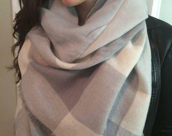 trendy grey plaid ,Popular Trendy,Beautiful triangle Blanket Scarf for Women, Zara Tartan Inspired,Oversized Large Unique