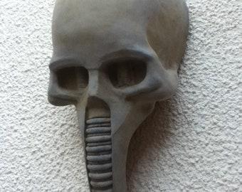 Human Skull Wall Hanging Stone Sculpture Biomechanoid HR Giger Futuristic