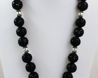 Chinese Writing Stone Round Pendant Necklace w/ Carved Round Black Stone Beads, Sterling Silver Beads & Clasp