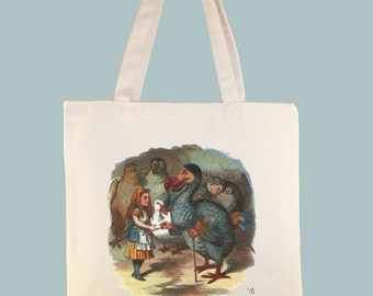 Alice with Wonderland Dodo Bird Canvas Tote - Selection of sizes available
