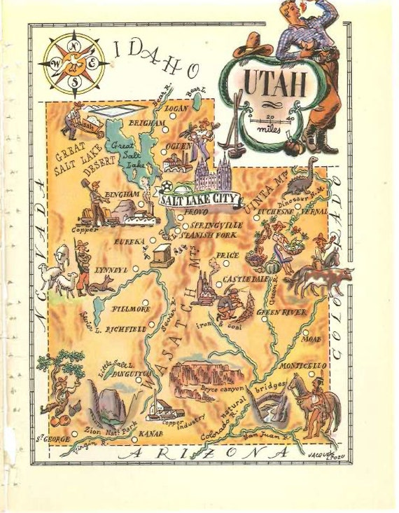 Utah Map Art / State Wall Art Print / Map of Utah Scrapbook