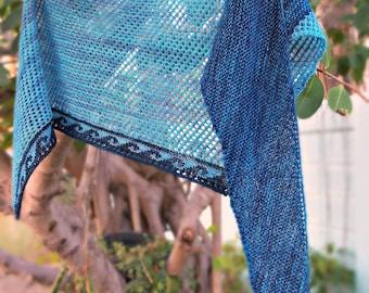 Shifting Seas Wrap Asymmetrical Triangle Shaped Shawl Hand Dyed Wool Hand Knit