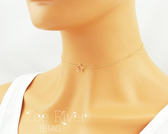 Choose rose gold, silver or gold star choker necklace. Rose gold star choker. Elegant and dainty star choker necklace