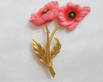1930's Celluloid Poppy Large Brooch Pin. Vintage Art Deco Celluloid Poppies Flower Pin.