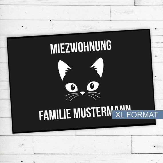 """Floor Mat """"Miezwohnung"""" (cat) with name or text"""