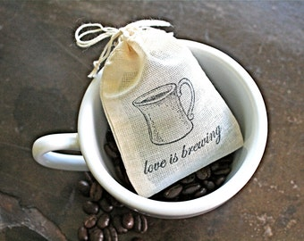 Wedding favor bags, set of 50 hand stamped coffee or tea favor bags. Love is Brewing with coffee cup design. Bridal shower or party favors.