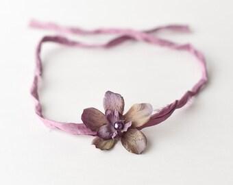 Tieback Headband, Purple Tieback, Purple Headband, Purple Halo Headband, Flower Tieback, Flower Headband, Newborn Headband