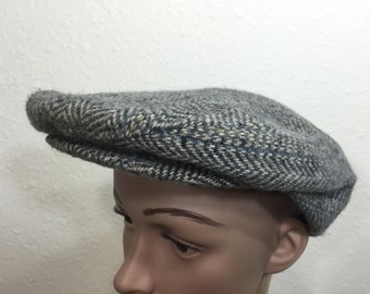 70's wool newsboy cap gray color wool size 7
