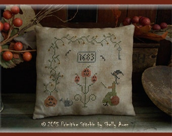 Griselda's Garden Primitive Halloween Cross Stitch E Pattern PDF