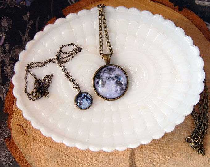 Featured listing image: to the moon and back mother daughter necklace set- gift set- friendship- lunar