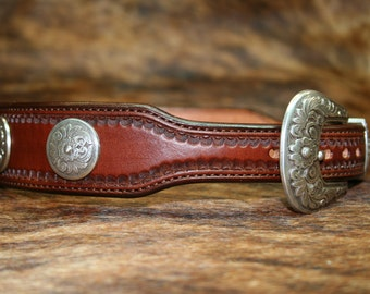 Leather Dog Collar with Conchos