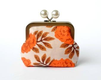 Mini Clutch, Metal Clasp Pouch, Clasp Wallet, Coin Pouch, Metal Frame Purse, Desk Organizer, Handbag Accessory, Jewelry Bag, Delicate Flower