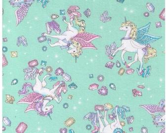 HALF YARD Cosmo Textile - Vanilla Pop Alacorn and Crystals Mint GREEN - AP75409 D -Glitter Pegacorn Pegasus Unicorn Mythical Diamond Sparkle