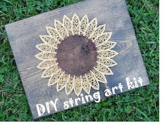 sunflower string art, flower string art, diy string art kit, string art kit, diy string art, flower string art kit, diy flower string art