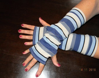 Blue and Grey Stripes Long Fingerless Gloves Arm Warmers Size S M L or XL