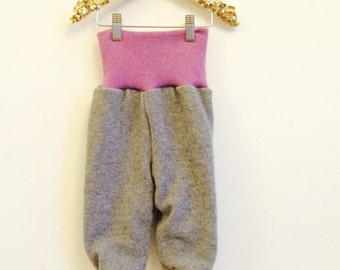 HOP 6-12m Double Layer Kids Cashmere and Wool Trousers Soaker Pants Real Nappies Cloth Diapers Upcycled Wool Unisex