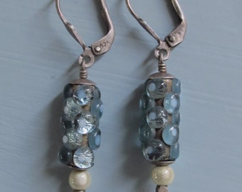 Blue Glass Earrings Silver w/ Faceted Glass Dangle Drop Earrings Deco Gatsby Style Earrings 90s Vintage Earrings