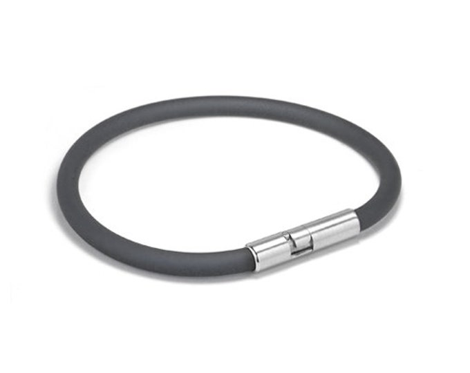 Gray Rubber Bracelet 5mm Rubber 6mm Clasp