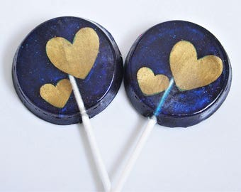 Navy and Gold Party Favor Lollipops, Valentine's Day Party Favors, Valentine's Treats, 6 Edible Image Favors. Wedding Favor Lollipops