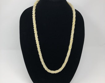 """Faux Pearl Necklace Woven Long Strand 30"""" Strand"""
