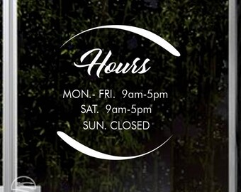 Store Hours Decals, Business Hours Decal, Hours of Operation Decal, Business Hours Door Signs, Retail Store Window Decals, Storefront Decals