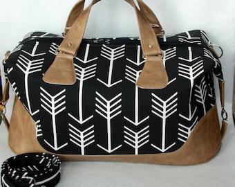 Weekender Bag - Brooklyn Traveler Bag - Duffel / Overnight Bag in Black and White with Tan Vinyl