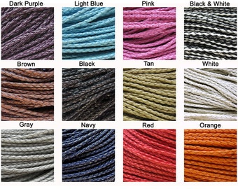 3mm Braided Faux Leather Cord Sold By The Yard