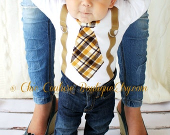Baby Boy Tie & Suspenders Bodysuit. 1st Birthday Outfit. Brown, Mustard, Citrine Plaid. Newborn Coming Home Outfit, Thanksgiving Holiday