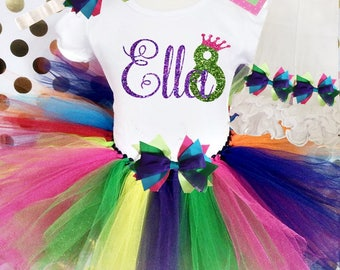 Birthday outfit / birthday tutu / tutu outfit/  Rainbow tutu / Rainbow birthday / personalized birthday / birthday outfit / Girls tutu