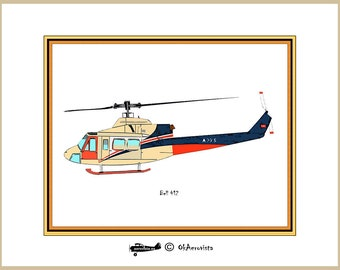 Bell 412 helicopter, original wall art decoration, helicopter print for home decor, aviation nursery, digital  helicopter  poster, playrooms
