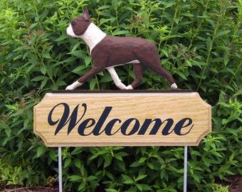 Boston Terrier Welcome Garden Stake