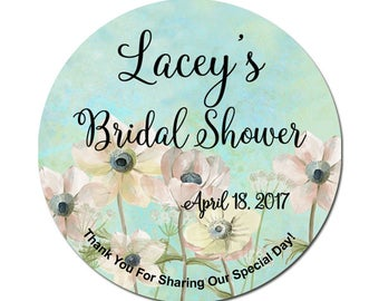 Custom Bridal Shower Labels Personalized White Flowers on Grunge Blue Green Background Round Glossy Designer Stickers