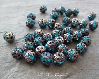 8 mm aqua blue rhinestone beads oxidized silver patina filigree classic vintage style medium, lot of 10 pcs
