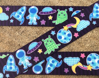 "3 yards Space Ship ribbon Martians Aliens Outer Space Grosgrain Ribbon 7/8"" Kids Cartoon print ribbon Hair Bows Ribbons"