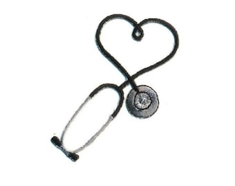 Embroidered Black Stethoscope Iron On Applique Patch - Medical - Nurse - Doctor - Scrubs - CRAFT PROJECTS