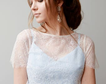 Wedding dress with top / Blue wedding gown / Sleeveless ethereal wedding dress / Lace top wedding