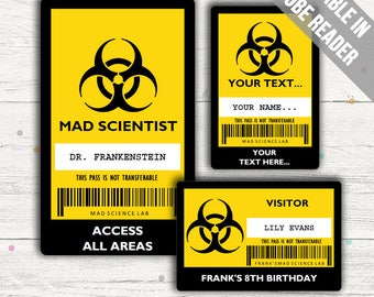 Science Party ID Badge. Mad Scientist ID Badge Template. Editable PDFs. Instant Download.
